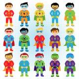Uppsättning av pojkeSuperheroes i vektorformat Royaltyfria Bilder