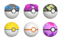 Uppsättning av pokemonbollar, tolkning 3D stock illustrationer