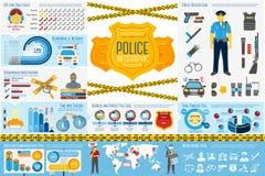 Uppsättning av polisarbetsInfographic beståndsdelar med symboler Royaltyfri Bild