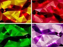 Uppsättning av polygonal abstrakta färgrika bakgrunder Royaltyfri Fotografi