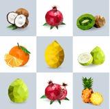 Uppsättning av polygonal frukt Royaltyfri Fotografi