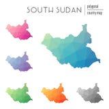 Uppsättning av polygonal södra Sudan för vektor översikter Fotografering för Bildbyråer