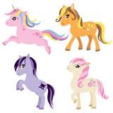 Uppsättning av ponnyn, hästen och enhörningen vektor illustrationer