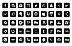 Uppsättning av populära sociala massmedialogoer, symboler: Facebook Instagram, Youtube, Twitter, LinkedIn, WhatsApp stock illustrationer