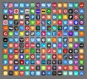 Uppsättning av populära sociala massmediasymboler stock illustrationer