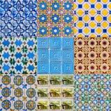 Uppsättning av portugisiska tegelplattor arkivbild