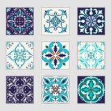 Uppsättning av portugisiska tegelplattor för vektor Härliga kulöra modeller för design och mode med dekorativa beståndsdelar royaltyfri illustrationer