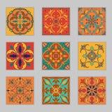 Uppsättning av portugisiska tegelplattor för vektor Härliga kulöra modeller för design och mode med dekorativa beståndsdelar stock illustrationer