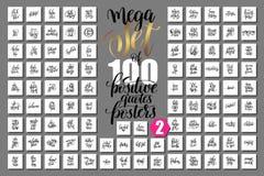 Uppsättning av 100 positiva citationsteckenaffischer om familjen, födelsedagparti Royaltyfri Illustrationer