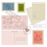 Uppsättning av post- beståndsdelar för designvykort, portostämplar Royaltyfri Foto