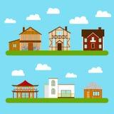 Uppsättning av privata hus Royaltyfri Illustrationer