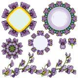 Uppsättning av prydnader - cirkelramar, blom- gränser med irisflowe Arkivfoton