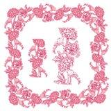 Uppsättning av prydnader i rosa och röda färger - dekorativt handdrawn f Royaltyfri Foto