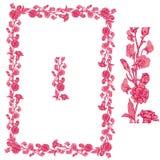 Uppsättning av prydnader i rosa och röda färger - dekorativt handdrawn f Royaltyfri Bild