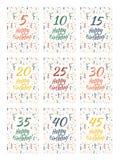 Uppsättning av räkningar för kort för lycklig födelsedag för årsdag 5,10,15,20,25,30,35,40,45 år Royaltyfri Fotografi