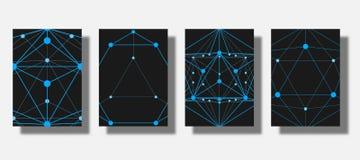 Uppsättning av räkningar med en geometrisk modell, ett raster av linjer och prickar Stilfull mörk bakgrund Tillämpbart för baner, Royaltyfria Bilder