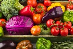 Uppsättning av rå grönsaker i trämagasinet royaltyfri bild