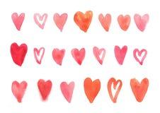 Uppsättning av röd hjärtaform, vattenfärg Royaltyfri Foto