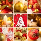 Uppsättning av röd jul och guld- bakgrunder Arkivfoto