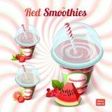 Uppsättning av röd smoothie tre i en plast- kopp med Arkivfoton