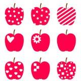 Uppsättning av röda äpplen. Royaltyfria Foton