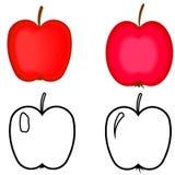 Uppsättning av röda äpplen. stock illustrationer