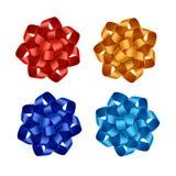 Uppsättning av röda apelsinblått Azure Gift Ribbon Bows Royaltyfri Fotografi