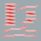 Uppsättning av röda band - vektorillustration Arkivfoton