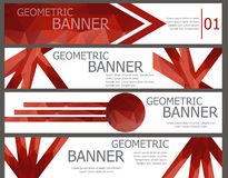 Uppsättning av röda baner med den abstrakta mångfärgade polygonal mosaiken Fotografering för Bildbyråer