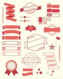 Uppsättning av röda designbeståndsdelar på beige bakgrund Royaltyfri Foto