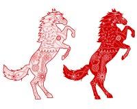 Uppsättning av röda hästar Arkivfoton