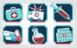 Uppsättning av röda medicinska symboler - som är blåa och Arkivfoton