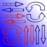 Uppsättning av röda och blåa pilar Arkivfoto