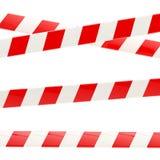 Uppsättning av röda och vita glansiga barriärband stock illustrationer