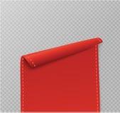 Uppsättning av röda snirklar Baneretikett Slåget in papper också vektor för coreldrawillustration Royaltyfri Bild