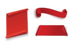 Uppsättning av röda snirklar Baneretikett Slåget in papper också vektor för coreldrawillustration Royaltyfria Foton