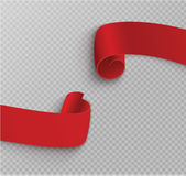 Uppsättning av röda snirklar Baneretikett Slåget in papper också vektor för coreldrawillustration Arkivfoto