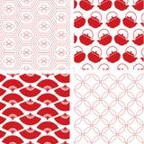 Uppsättning av 4 röda traditionella sömlösa japanmodeller vektor illustrationer