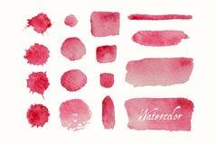 Uppsättning av röda vattenfärgklickar och fläckar royaltyfri illustrationer