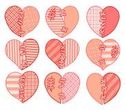 Uppsättning av röda vektorhjärtor för snitt Avbilda för hälsningkortet för dag för valentin` s royaltyfri illustrationer