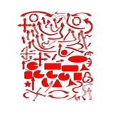 Uppsättning av röda vektorpilar och geometriska former Royaltyfria Foton