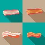 Uppsättning av rökt bacon och ny bacon Royaltyfria Bilder