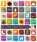 Uppsättning av ramadan lägenhetsymboler royaltyfri illustrationer