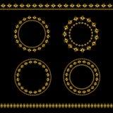 Uppsättning av ramar och linjer för tappning guld- Royaltyfri Foto