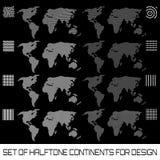 Uppsättning av rastrerade kontinenter för design royaltyfri illustrationer