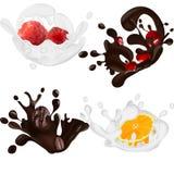 Uppsättning av realistisk choklad och att mjölka färgstänk som isoleras på vit bakgrund också vektor för coreldrawillustration Ap vektor illustrationer
