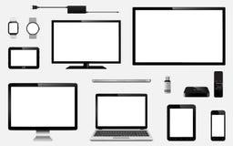 Uppsättning av realistisk TV, datorbildskärm, bärbara datorer, minnestavla, mobiltelefon, smart klocka, usb-exponeringsdrev, appa Royaltyfri Fotografi