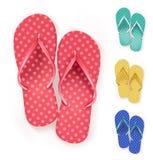 Uppsättning av realistiska färgrika Flip Flops Beach Slippers Royaltyfri Foto