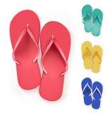 Uppsättning av realistiska färgrika Flip Flops Beach Slippers stock illustrationer