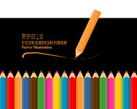 Uppsättning av realistiska färgrika kulöra blyertspennor 3D eller färgpennor royaltyfri illustrationer